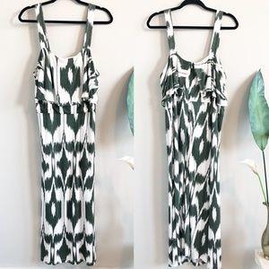 LOFT Ikat Print Green White Maxi Dress XL TALL